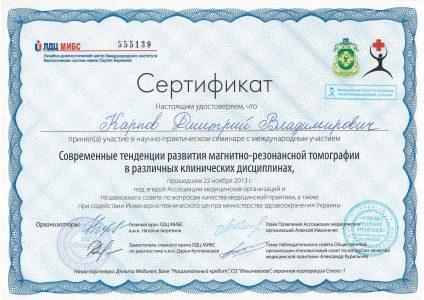 Certificate Karpov D.V 5