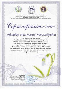 SHNAIDER Certificate 4